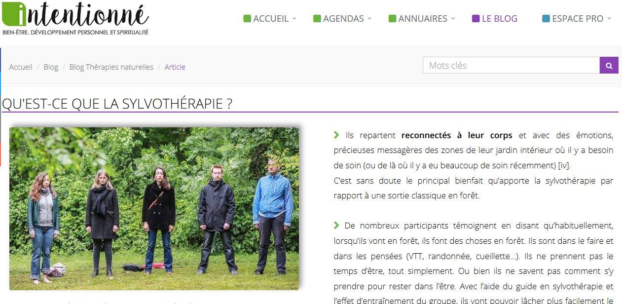 Un article sur la sylvothérapie par Entre les Arbres sur la plateforme «Intentionné»